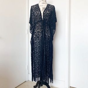 Black Lace Floor Length Cover Up